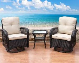 Corvus Livorno Outdoor 3-Piece Wicker Chair CC034-BNPB