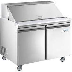 "Retails: $2049 Avantco SS-PT-48M-HC 48"" 2 Door Mega Top Stainless Steel Refrigerated Sandwich Prep Table"