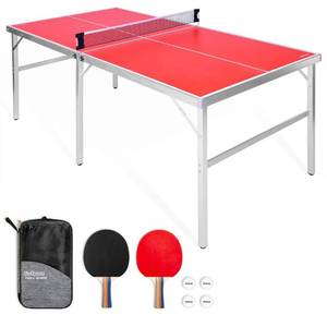 GoSports 6'x3' Mid-size Table Tennis Game Set Indoor / Outdoor Portable Table Tennis Game with Net, 2 Table Tennis Paddles and 4 Balls