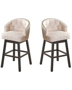 Muireall Fabric Swivel Counter Stools (Set of 2) by Christopher Knight Home- Retail:$301.49