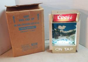 Vintage Coors on Tap Advertising Lighted Sign ~ 11 x 6 x 16 in. tall ~ powers on ~ original shipping box