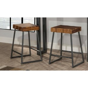 "Carbon Loft Mattison Live Edge Square Non-swivel Backless Counter Stool - 17""W x 14""L x 26""H- Retail:$139.99"