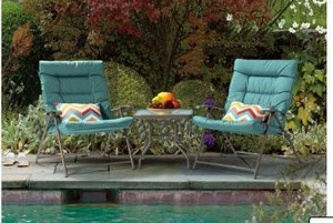 Nod Outdoor Folding 3 Piece Bistro Set with cushions- Retail:$169.99