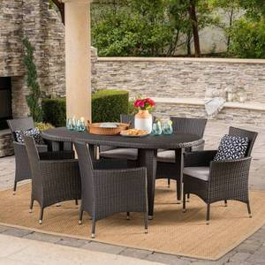 Vincent Outdoor 5 piece Oval Wicker Dining chair Set with Cushions by Christopher Knight Home- Retail:$939.99