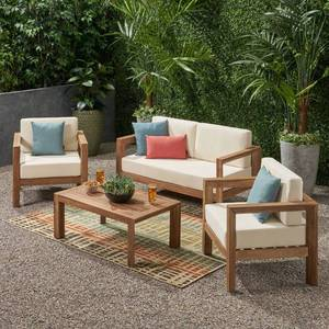 Genser Outdoor 4-piece Acacia Chat Set by Christopher Knight Home- Retail:$1049.99 (Couch And Table Only)