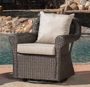 Amaya Outdoor Wicker Swivel Rocking Chair with Cushion (1 Chair) by Christopher Knight Home