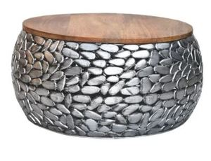 Iron Stone Coffee Table with Wooden Top Silver Antique- Retail:$437.99