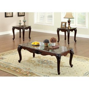 Traditional 3 Piece Coffee Table Set, Dark Cherry Brown