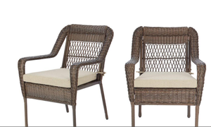 Oslo Patio Chair With Cusion Brown Wicker, and Beige Cusion(Set of 2)