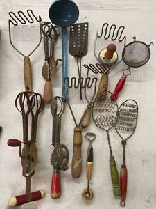 Large Lot Vintage Kitchen Utensils, Beaters, Granite Spoon, Wood Handles