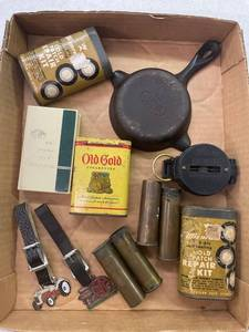 Misc Lot Collectibles, Old Gold Cigarette Tin, Cast Iron Ashtray Wagner Ware, Brass Shells, Tractor Fobs