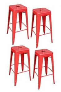 Four Red Metal Stools