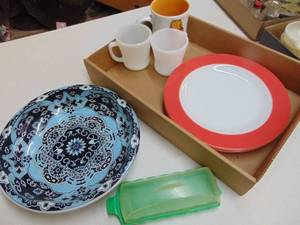 Fire King Coffee Mugs, Pyrex Plates and More