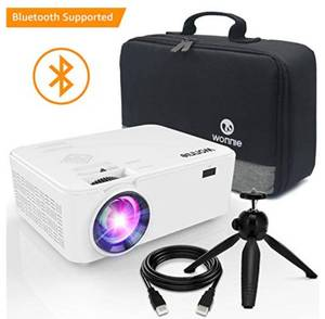 WONNIE Bluetooth Projector, Portable LCD Projector 2600 Lumens with Carrying Bag and Tripod, Compatible with Smartphone, TV S, Model No. DPS-742