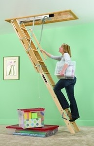 "Louisville Ladder 8' 9"" - 10' Wood Attic Ladder, 250 lbs Load Capacity"