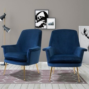 Donella Blue Velvet Lounge Chairs (Set of 2) Retail:$517.99