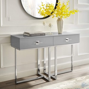 Nicole Miller Mandisa High Gloss Lacquer Finish & Stainless Steel 2 Drawer Console Table -Retail $471.00