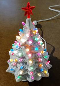 "Vintage 8"" Iridescent White Ceramic Christmas Tree from Atlantic Mold ~ Multicolored Pegs - Complete, No Noticeable Cracks or Chips"