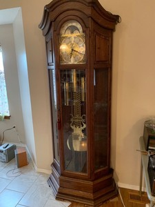 Black Forest Grandfather clock with side shelves 82 x 33 x 15