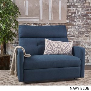 Blue- Halima Fabric 2-Seater Recliner Club Chair by Christopher Knight Home- Retail:$501.99