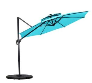 Zenova 11Ft  Outdoor Parasol Umbrella with Solar Powered LED Lights and 360 degree Rotation, Base Not Included- Retail:$229.99