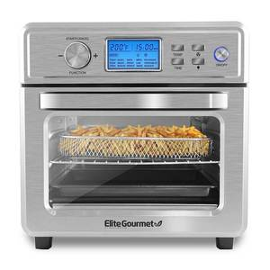 Elite Gourmet 21L Stainless Steel Digital Air Fryer Oven with LCD Display and Interior Light - Stainless Steel