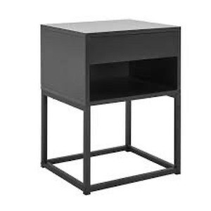 End Table with Drawer and Shelf, Metal Legs, Black