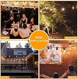 2 Pack 48FT LED Outdoor String Lights, Commercial Grade LED String Lights Waterproof Strand LED Edison Bulb 15 Hanging Sockets, LED Cafe Lights Bistro Lights Shatterproof for Backyard Patio Party