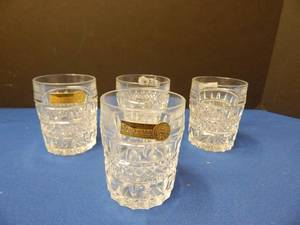 Set if 4 Bohemian Cut Crystal Rocks Glasses