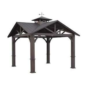allen + roth Wood Looking Hand Paint Metal Square Semi- Gazebo (Exterior: 12-ft x 12-ft; Foundation: 9.16-ft x 9.16-ft)