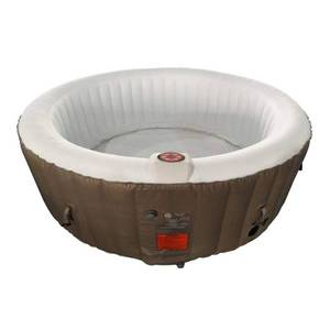 ALEKO Round Inflatable Hot Tub Spa With Cover - 4 Person - 210 Gallon - Brown and White