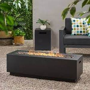 Wellington Outdoor Rectangular Firepit only with Lava Rocks by Christopher Knight Home- Retail:$495.99 grey