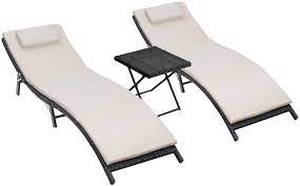 homall 3 pc patio 2 chaise lounge with table