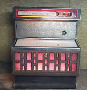 Vintage 1960's Rowe AMI Jukebox by Triangle Industries, full of Classic 45 records ~ works ~ 42 x 28 x 51 in. tall ~ IN BASEMENT ~ Bring plenty of Help to remove