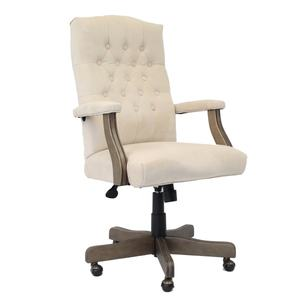 BOSS Executive Champagne Velvet Chair With Driftwood Finish Frame