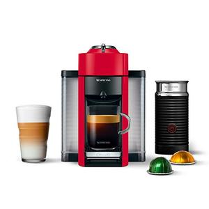 DeLonghi America ENV135RAE Nespresso Vertuo Evoluo Coffee and Espresso Machine with Aeroccino by De'Longhi, Red