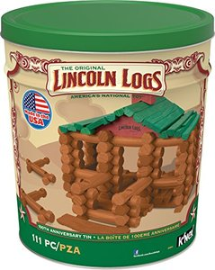 Lincoln Logs100th Anniversary Tin-111 Pieces-Real Wood Logs-Ages 3+ - Best Retro Building Gift Set for Boys/Girls - Creative Construction Engineering  Top Blocks Game Kit - Preschool Education Toy, Brown (854)