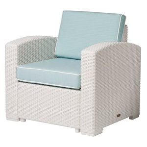Lagoon Magnolia Rattan Club Chair, White with a Blue Cushion - Retail: $280.00