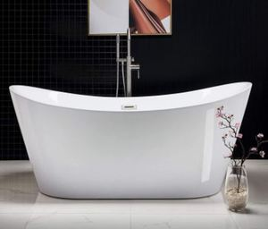 "WOODBRIDGE B-0015 Acrylic Freestanding Bathtub Contemporary Soaking Tub White, 67"" Plus BONUSES!!!! Pulse Kauai III Shower System, American Standard Toilet and Rumson Faucet a $1,200 Value!!"
