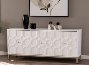 Strick & Bolton Gibbfield Contemporary White Wood Accent Cabinet- Retail:$312.99