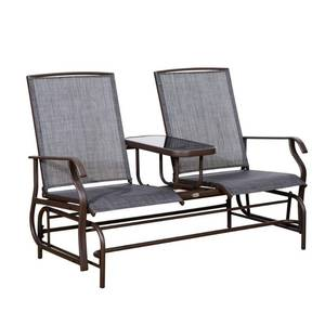 Outsunny Two Person Outdoor Mesh Fabric Patio Double Glider Chair with Center Table- Retail:$149.99