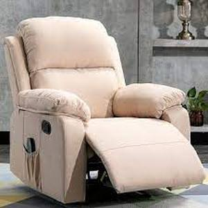 classic soft padded manual recliner chair beige