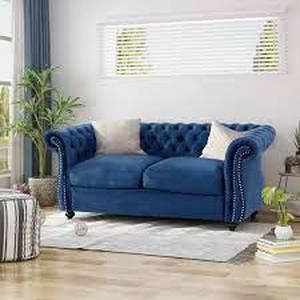 Somerville chesterfield velvet loveseat sky blue