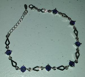 Sterling Silver & Purple Crystals Bracelet