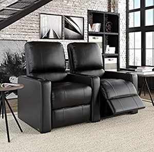 Octane Seating Octane Charger XS300 Series 2 Row Recliner Set with Manual Recline, Black Bonded Leather
