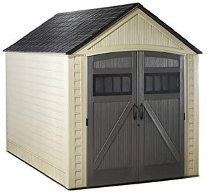 RUBBERMAID Roughneck Storage Shed, 7x10.5, Faint Maple and Brown