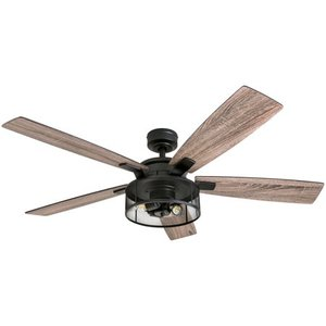 "Honeywell Carnegie 52"" Matte Black LED Industrial Ceiling Fan with Remote, Mesh Drum Lighting and Edison Bulbs"