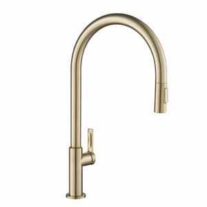 KRAUS Oletto High-Arc Single-Handle Pull-Down Sprayer Kitchen Faucet in Spot Free Antique Champagne Bronze
