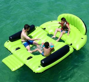 Inflatable Floating Island Chaise Lounger with Cup Holders & Boarding Platform - 6 Person