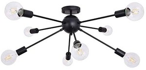 Ceiling Lamp Matte Black Industrial 8-Light Semi Flush Mount Sputnik Light Fixture Modern Ceiling Lamp Pendant Lighting Chandelier for Dining Room Kitchen Bedroom Living Room Foyer Hallway ** $69.99 retail - bulbs not included